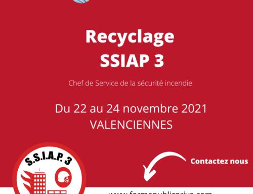 SSIAP 3 RECYCLAGE – Formation du 22 au 24 novembre 2021 – VALENCIENNES